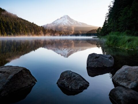 calm body of water with rocks near trees and mountain