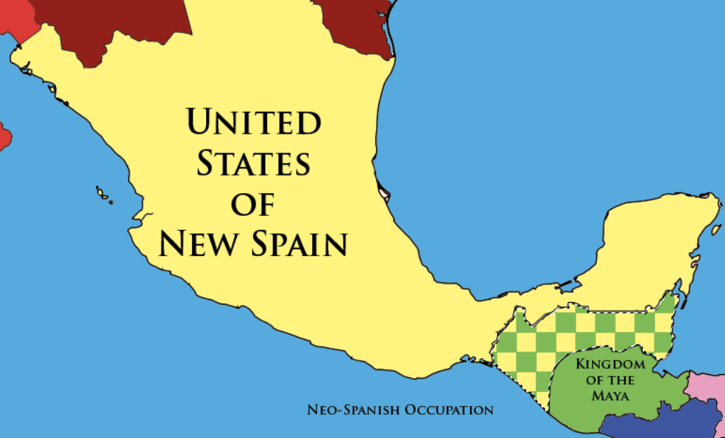 Map showing Neo-Spanish Occupation of the Kingdom of the Maya